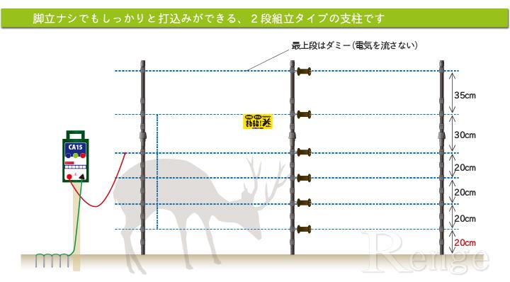 シカ対策用電気さく6段張り設置例