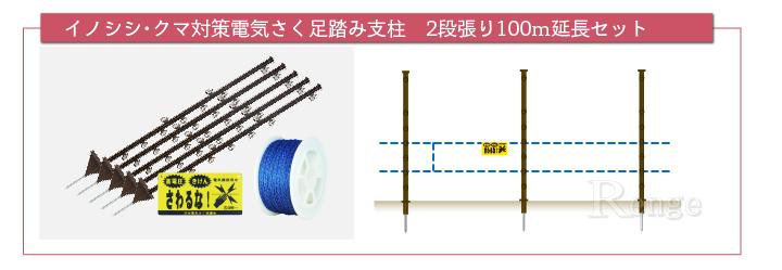 電気さくセット 2段張り100m足踏みセット 延長用資材